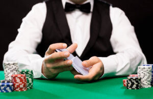 Live Dealer Casino Shuffling with casino chips